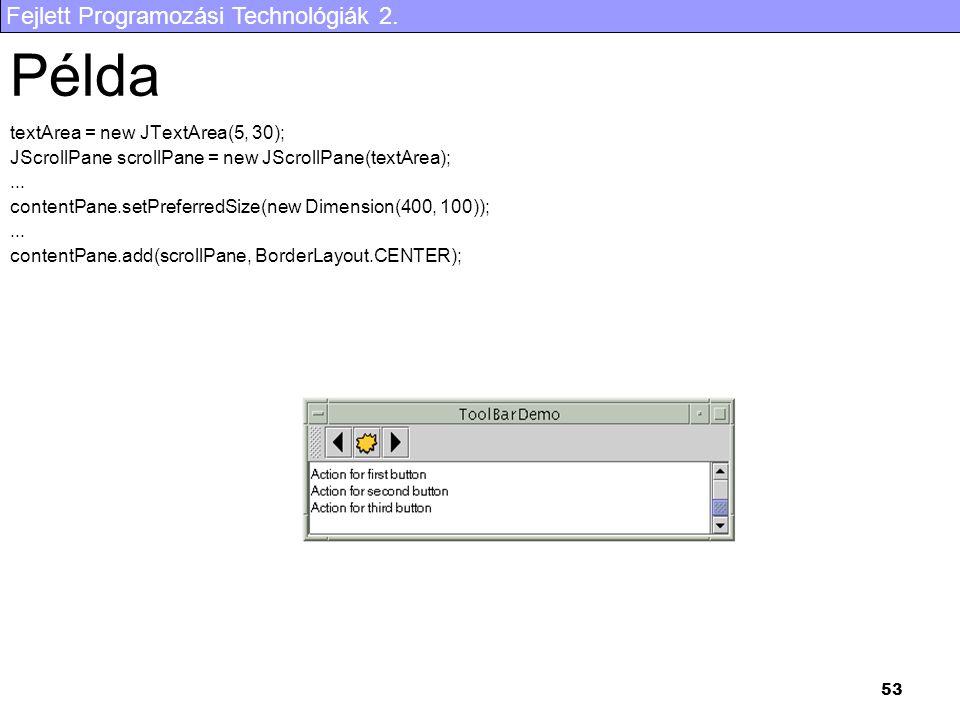 Fejlett Programozási Technológiák 2. 53 Példa textArea = new JTextArea(5, 30); JScrollPane scrollPane = new JScrollPane(textArea);... contentPane.setP