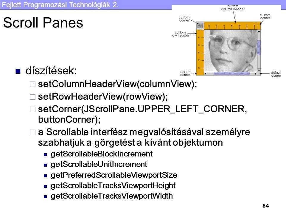 Fejlett Programozási Technológiák 2. 54 Scroll Panes díszítések:  setColumnHeaderView(columnView);  setRowHeaderView(rowView);  setCorner(JScrollPa