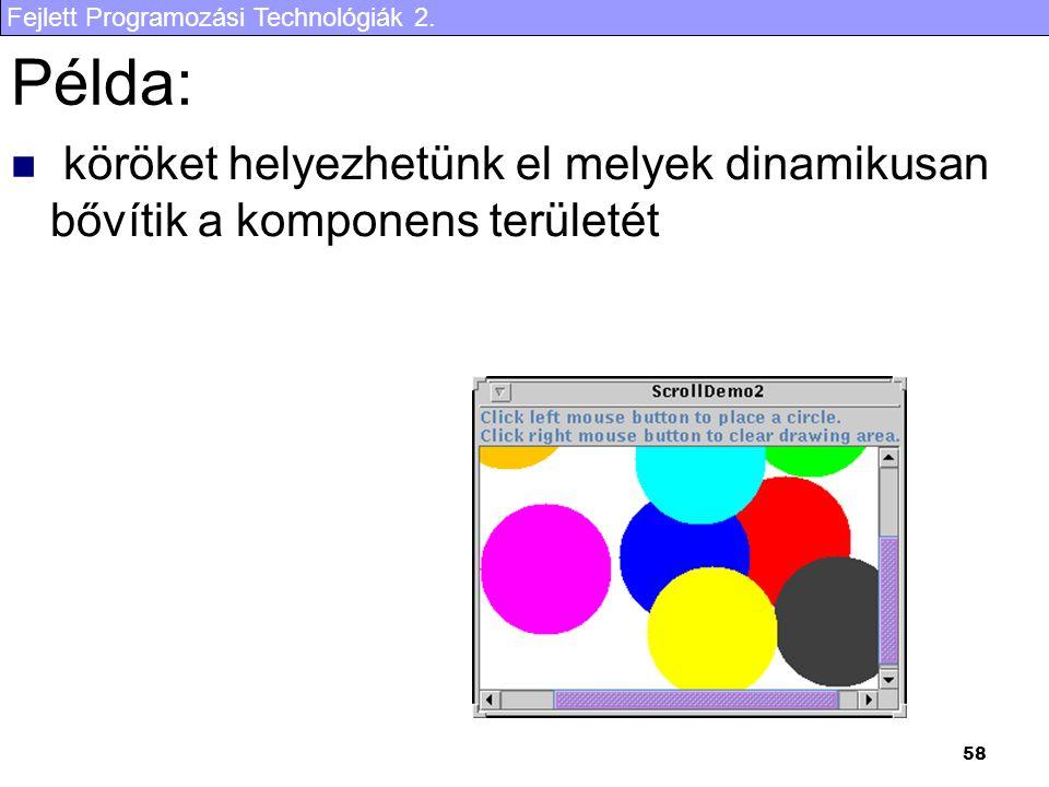 Fejlett Programozási Technológiák 2. 58 Példa: köröket helyezhetünk el melyek dinamikusan bővítik a komponens területét