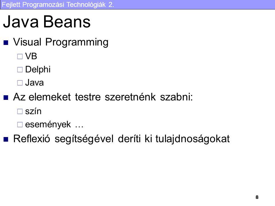 Fejlett Programozási Technológiák 2. 8 Java Beans Visual Programming  VB  Delphi  Java Az elemeket testre szeretnénk szabni:  szín  események … R