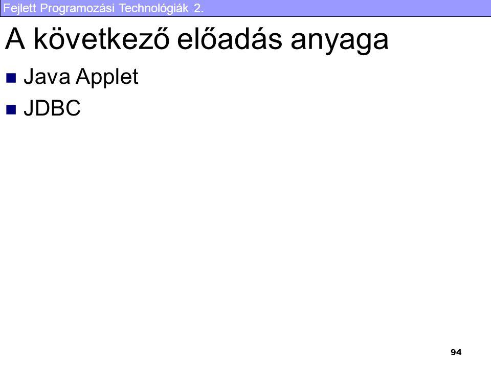 Fejlett Programozási Technológiák 2. 94 A következő előadás anyaga Java Applet JDBC