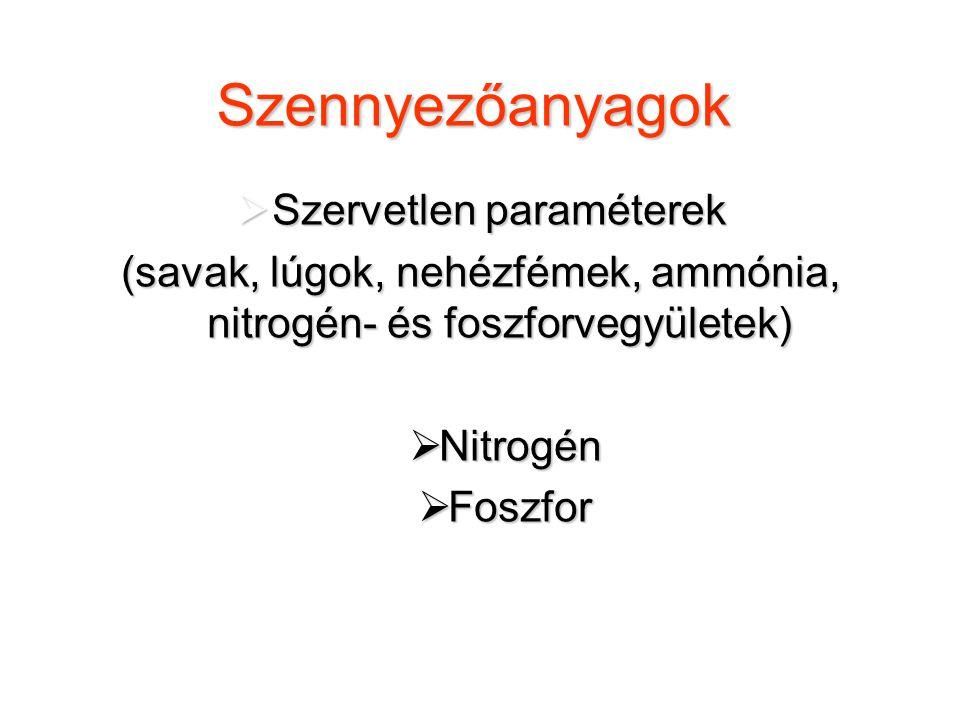 Szennyezőanyagok  Szervetlen paraméterek (savak, lúgok, nehézfémek, ammónia, nitrogén- és foszforvegyületek)  Nitrogén  Foszfor