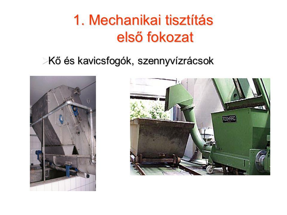 1. Mechanikai tisztítás első fokozat  Kő és kavicsfogók, szennyvízrácsok Rácsszemét tárolása majd szállítása Rácsszűrő ház