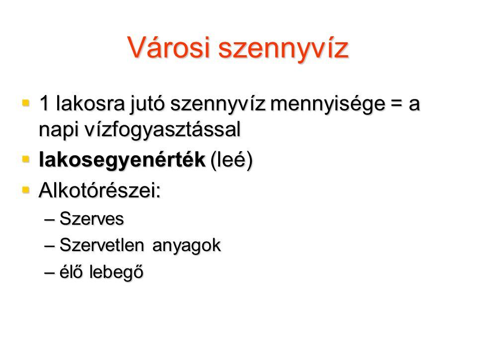 Szennyvizek tisztítása  I.rendű tisztítás (elsődleges): a darabos szennyezők eltávolítása  II.