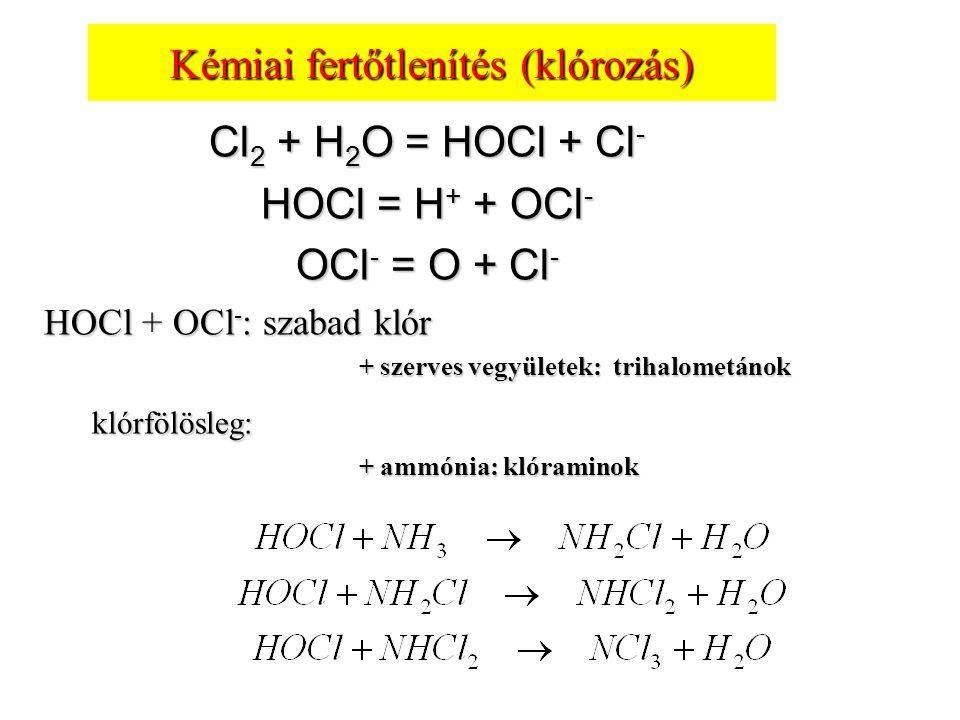 Kémiai fertőtlenítés (klórozás) Cl 2 + H 2 O = HOCl + Cl - HOCl = H + + OCl - OCl - = O + Cl - HOCl + OCl - : szabad klór + szerves vegyületek: trihal