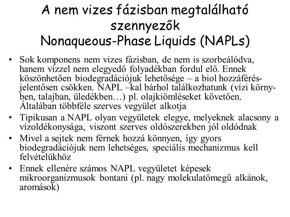 A nem vizes fázisban megtalálható szennyezők Nonaqueous-Phase Liquids (NAPLs) Sok komponens nem vizes fázisban, de nem is szorbeálódva, hanem vízzel nem elegyedő folyadékban fordul elő.