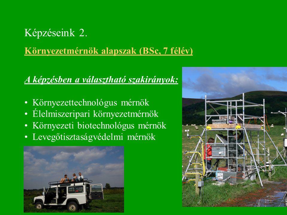 Képzéseink 2. Környezetmérnök alapszak (BSc, 7 félév) A képzésben a választható szakirányok: Környezettechnológus mérnök Élelmiszeripari környezetmérn