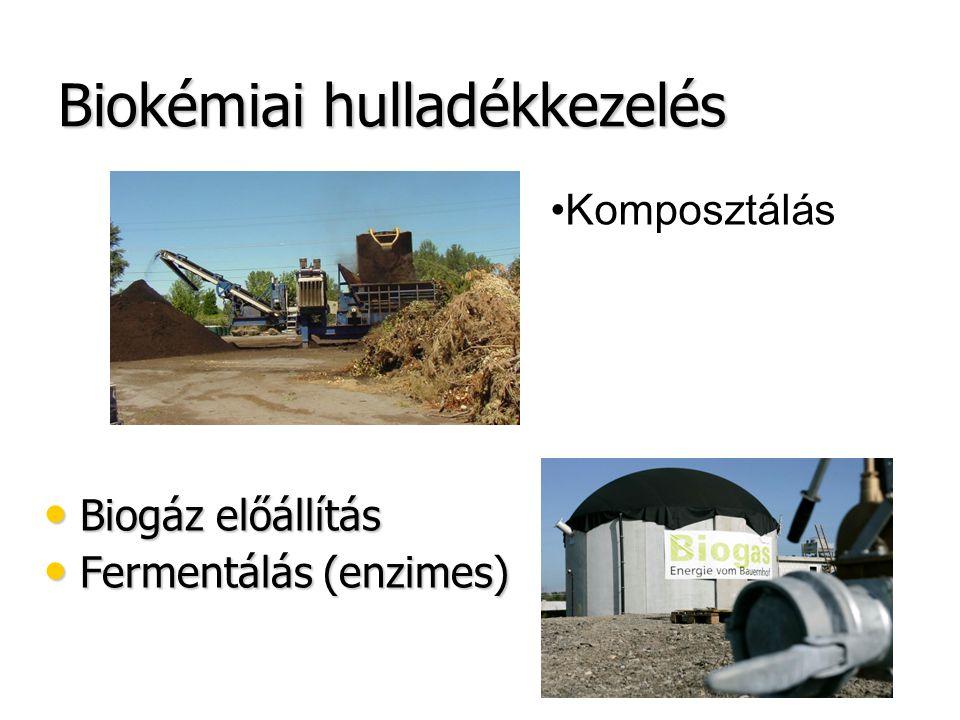 Biokémiai hulladékkezelés Biogáz előállítás Biogáz előállítás Fermentálás (enzimes) Fermentálás (enzimes) Komposztálás