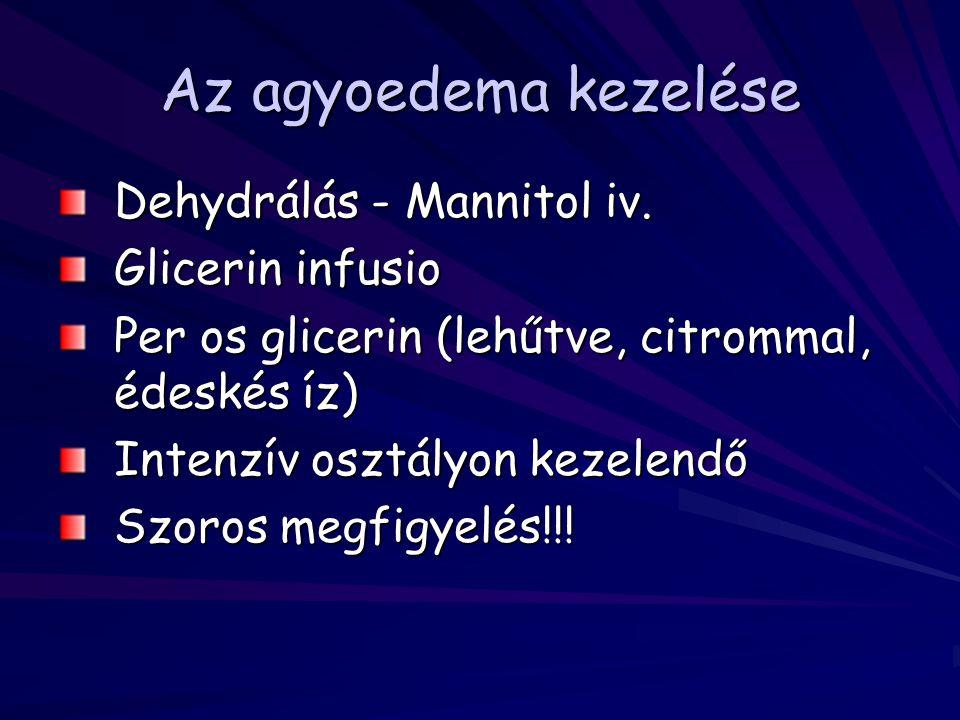 Az agyoedema kezelése Dehydrálás - Mannitol iv. Glicerin infusio Per os glicerin (lehűtve, citrommal, édeskés íz) Intenzív osztályon kezelendő Szoros