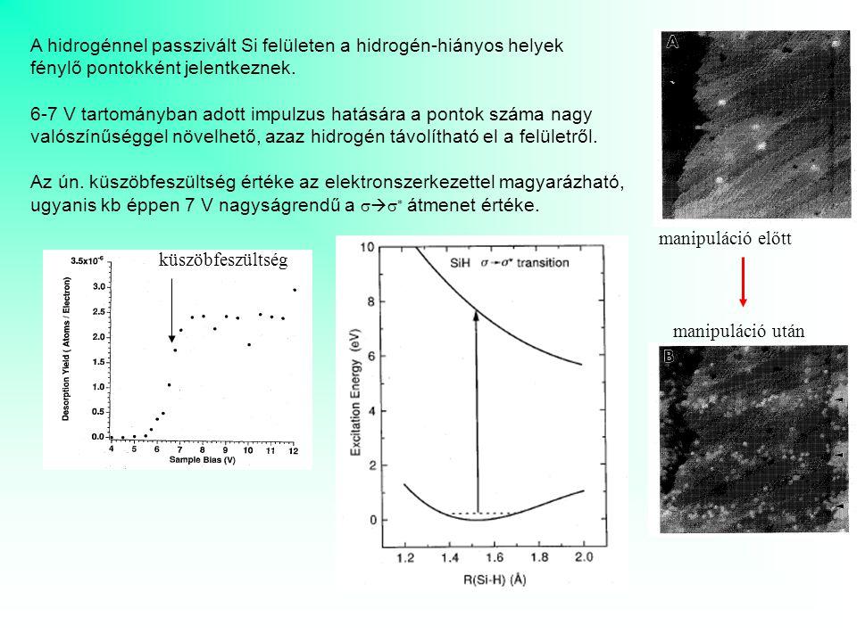 A hidrogénnel passzivált Si felületen a hidrogén-hiányos helyek fénylő pontokként jelentkeznek. 6-7 V tartományban adott impulzus hatására a pontok sz