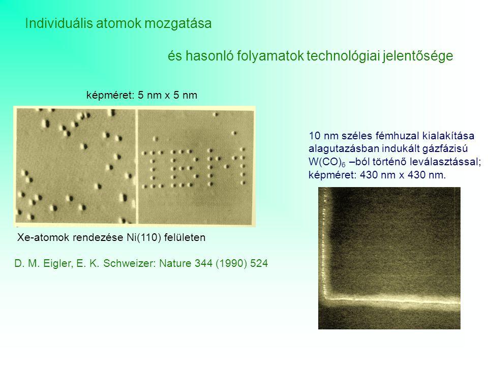 Individuális atomok mozgatása és hasonló folyamatok technológiai jelentősége képméret: 5 nm x 5 nm 10 nm széles fémhuzal kialakítása alagutazásban ind