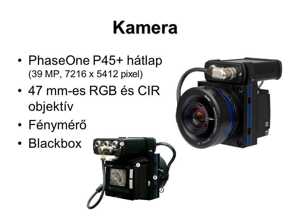 Kamera PhaseOne P45+ hátlap (39 MP, 7216 x 5412 pixel) 47 mm-es RGB és CIR objektív Fénymérő Blackbox