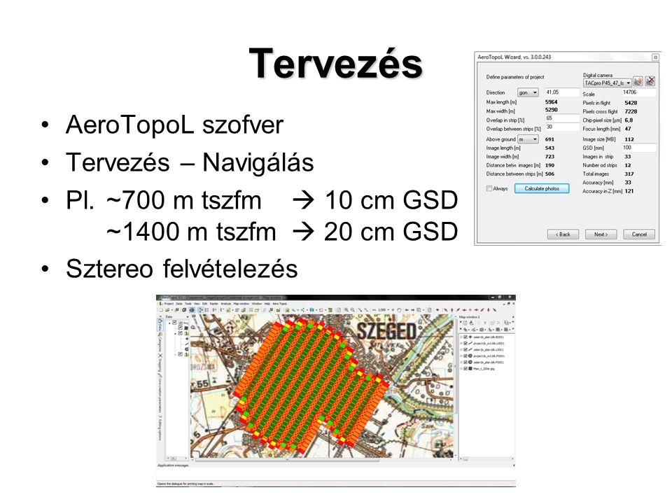 Tervezés AeroTopoL szofver Tervezés – Navigálás Pl.~700 m tszfm  10 cm GSD ~1400 m tszfm  20 cm GSD Sztereo felvételezés