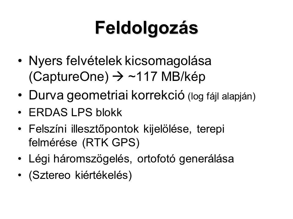 Feldolgozás Nyers felvételek kicsomagolása (CaptureOne)  ~117 MB/kép Durva geometriai korrekció (log fájl alapján) ERDAS LPS blokk Felszíni illesztőpontok kijelölése, terepi felmérése (RTK GPS) Légi háromszögelés, ortofotó generálása (Sztereo kiértékelés)