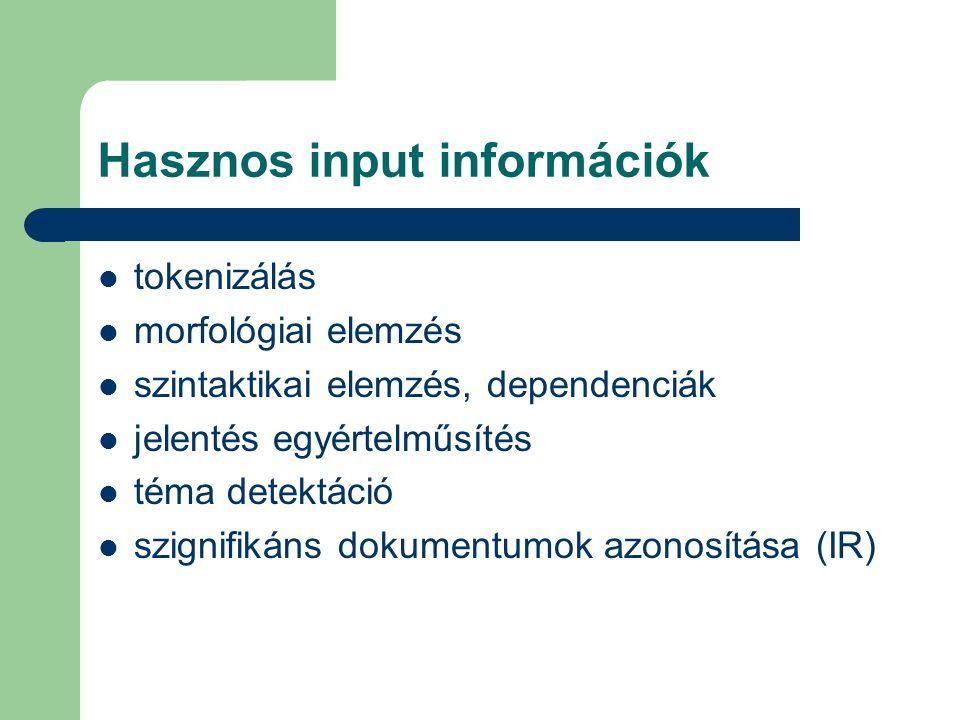 Hasznos input információk tokenizálás morfológiai elemzés szintaktikai elemzés, dependenciák jelentés egyértelműsítés téma detektáció szignifikáns dokumentumok azonosítása (IR)