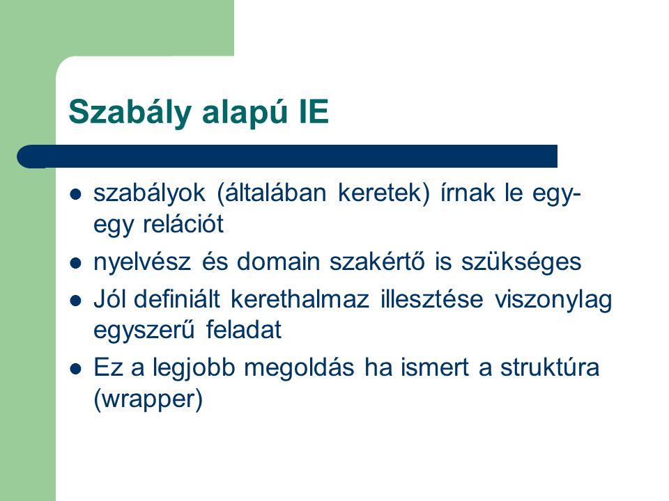 Szabály alapú IE szabályok (általában keretek) írnak le egy- egy relációt nyelvész és domain szakértő is szükséges Jól definiált kerethalmaz illesztés