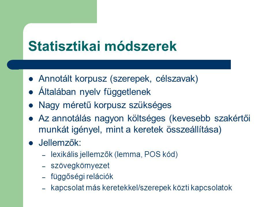 Statisztikai módszerek Annotált korpusz (szerepek, célszavak) Általában nyelv függetlenek Nagy méretű korpusz szükséges Az annotálás nagyon költséges (kevesebb szakértői munkát igényel, mint a keretek összeállítása) Jellemzők: – lexikális jellemzők (lemma, POS kód) – szövegkörnyezet – függőségi relációk – kapcsolat más keretekkel/szerepek közti kapcsolatok