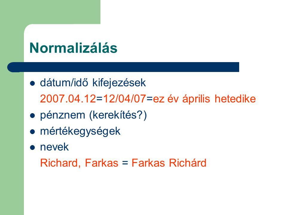 Normalizálás dátum/idő kifejezések 2007.04.12=12/04/07=ez év április hetedike pénznem (kerekítés ) mértékegységek nevek Richard, Farkas = Farkas Richárd