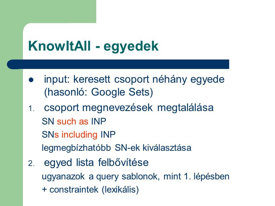 KnowItAll - egyedek input: keresett csoport néhány egyede (hasonló: Google Sets) 1. csoport megnevezések megtalálása SN such as INP SNs including INP