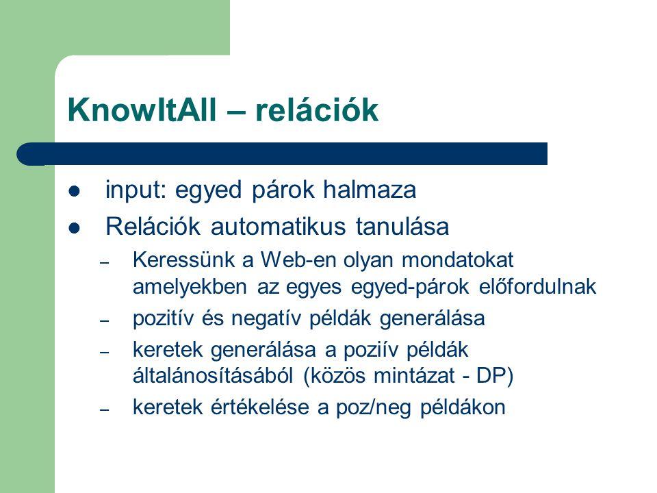 KnowItAll – relációk input: egyed párok halmaza Relációk automatikus tanulása – Keressünk a Web-en olyan mondatokat amelyekben az egyes egyed-párok előfordulnak – pozitív és negatív példák generálása – keretek generálása a poziív példák általánosításából (közös mintázat - DP) – keretek értékelése a poz/neg példákon