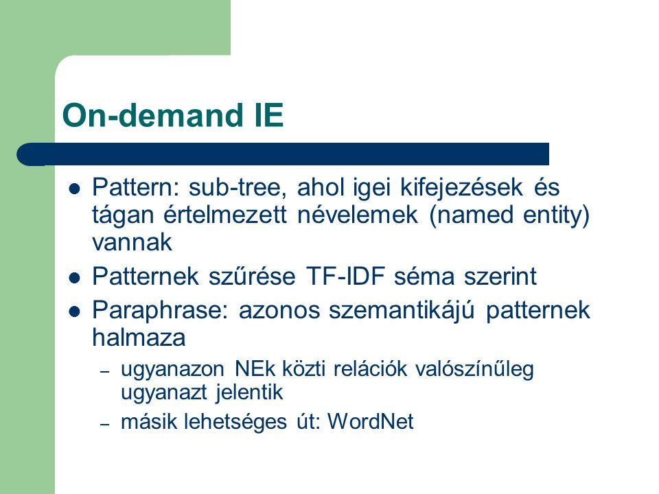 Pattern: sub-tree, ahol igei kifejezések és tágan értelmezett névelemek (named entity) vannak Patternek szűrése TF-IDF séma szerint Paraphrase: azonos szemantikájú patternek halmaza – ugyanazon NEk közti relációk valószínűleg ugyanazt jelentik – másik lehetséges út: WordNet