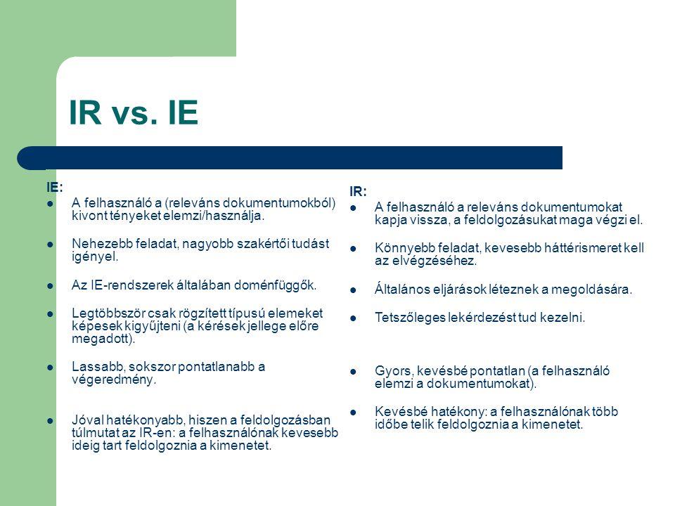 IR vs. IE IE: A felhasználó a (releváns dokumentumokból) kivont tényeket elemzi/használja. Nehezebb feladat, nagyobb szakértői tudást igényel. Az IE-r