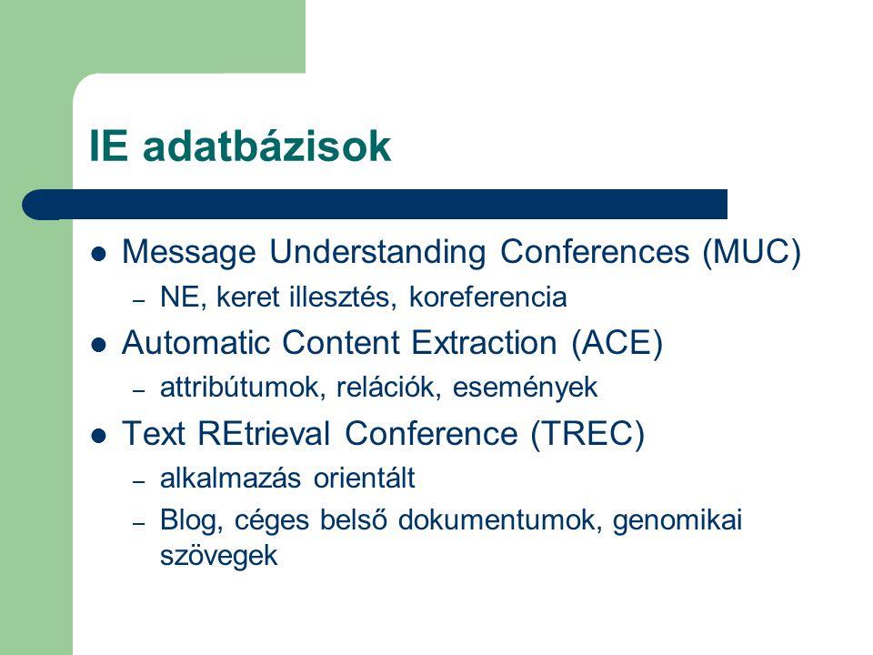 IE adatbázisok Message Understanding Conferences (MUC) – NE, keret illesztés, koreferencia Automatic Content Extraction (ACE) – attribútumok, relációk, események Text REtrieval Conference (TREC) – alkalmazás orientált – Blog, céges belső dokumentumok, genomikai szövegek