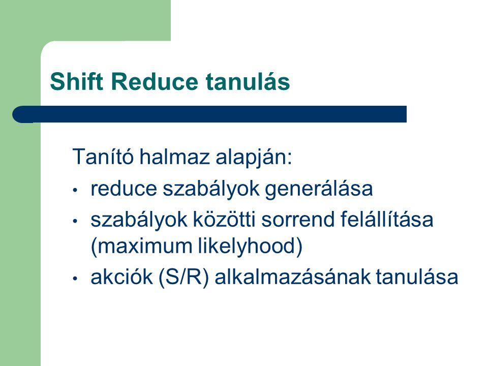 Shift Reduce tanulás Tanító halmaz alapján: reduce szabályok generálása szabályok közötti sorrend felállítása (maximum likelyhood) akciók (S/R) alkalmazásának tanulása