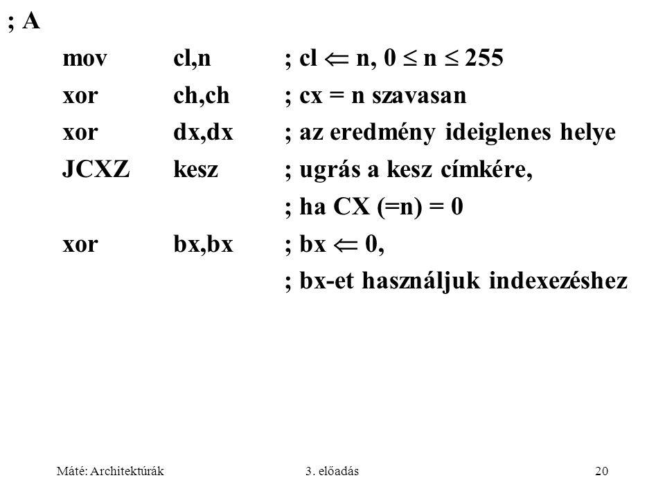 Máté: Architektúrák3. előadás20 ; A movcl,n; cl  n, 0  n  255 xorch,ch; cx = n szavasan xordx,dx; az eredmény ideiglenes helye JCXZkesz; ugrás a ke