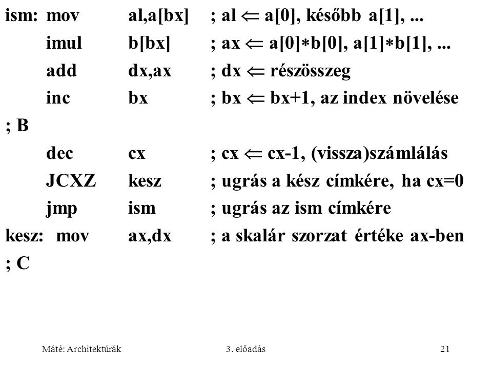 Máté: Architektúrák3. előadás21 ism:moval,a[bx]; al  a[0], később a[1],... imulb[bx]; ax  a[0]  b[0], a[1]  b[1],... adddx,ax; dx  részösszeg inc