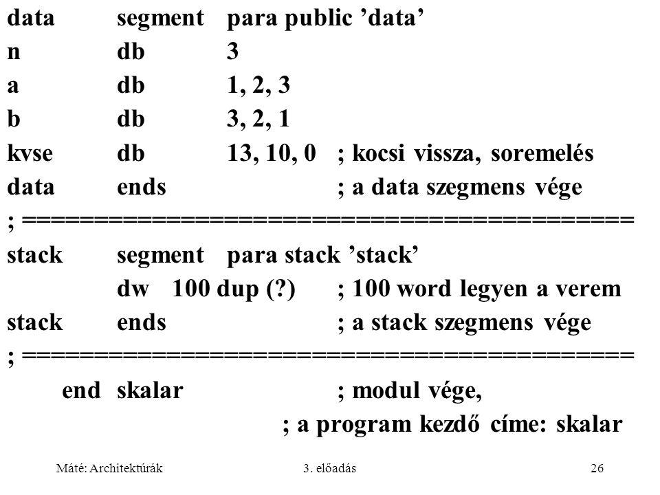 Máté: Architektúrák3. előadás26 datasegment para public 'data' ndb3 adb1, 2, 3 bdb3, 2, 1 kvsedb13, 10, 0; kocsi vissza, soremelés dataends; a data sz