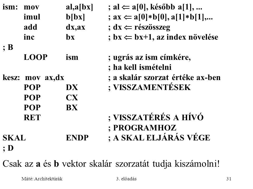 Máté: Architektúrák3. előadás31 ism:moval,a[bx]; al  a[0], később a[1],... imulb[bx]; ax  a[0]  b[0], a[1]  b[1],... adddx,ax; dx  részösszeg inc