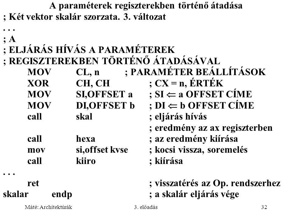 Máté: Architektúrák3. előadás32 A paraméterek regiszterekben történő átadása ; Két vektor skalár szorzata. 3. változat... ; A ; ELJÁRÁS HÍVÁS A PARAMÉ