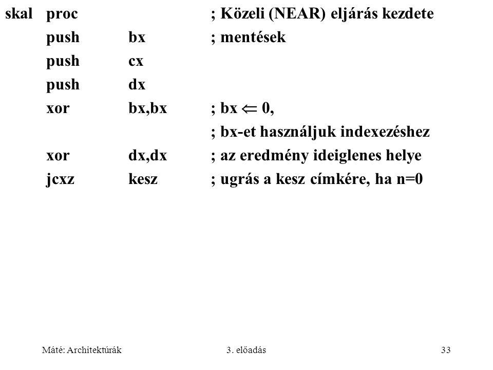 Máté: Architektúrák3. előadás33 skalproc; Közeli (NEAR) eljárás kezdete pushbx; mentések pushcx pushdx xorbx,bx; bx  0, ; bx-et használjuk indexezésh