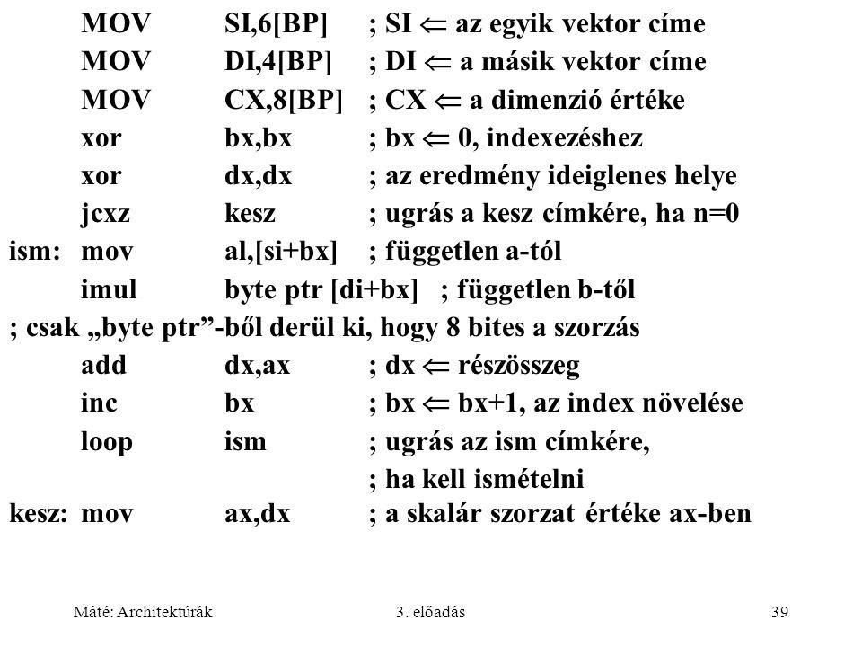Máté: Architektúrák3. előadás39 MOVSI,6[BP]; SI  az egyik vektor címe MOVDI,4[BP]; DI  a másik vektor címe MOVCX,8[BP]; CX  a dimenzió értéke xorbx
