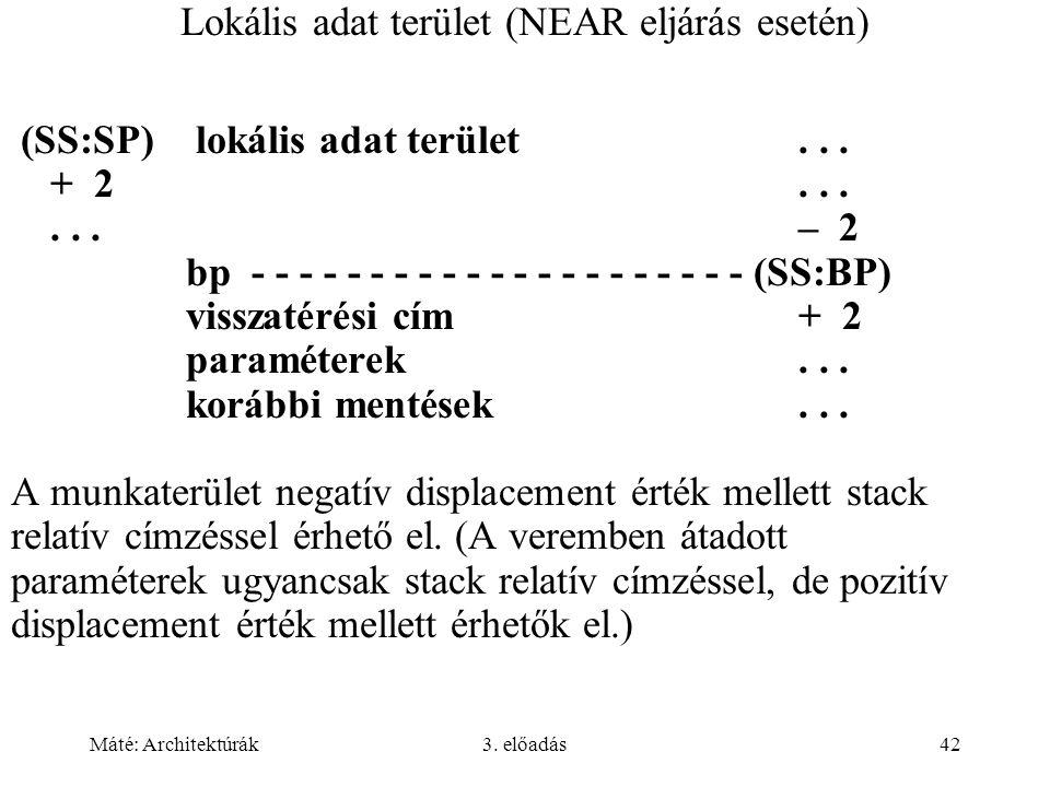 Máté: Architektúrák3. előadás42 Lokális adat terület (NEAR eljárás esetén) (SS:SP) lokális adat terület... + 2......– 2 bp - - - - - - - - - - - - - -