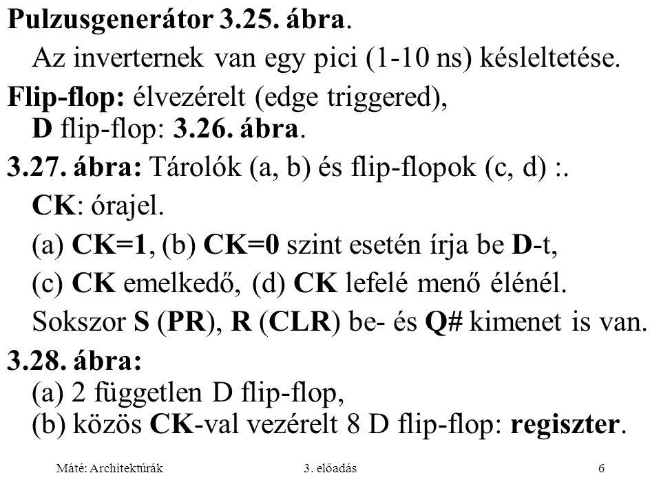 Máté: Architektúrák3. előadás6 Pulzusgenerátor 3.25. ábra. Az inverternek van egy pici (1-10 ns) késleltetése. Flip-flop: élvezérelt (edge triggered),