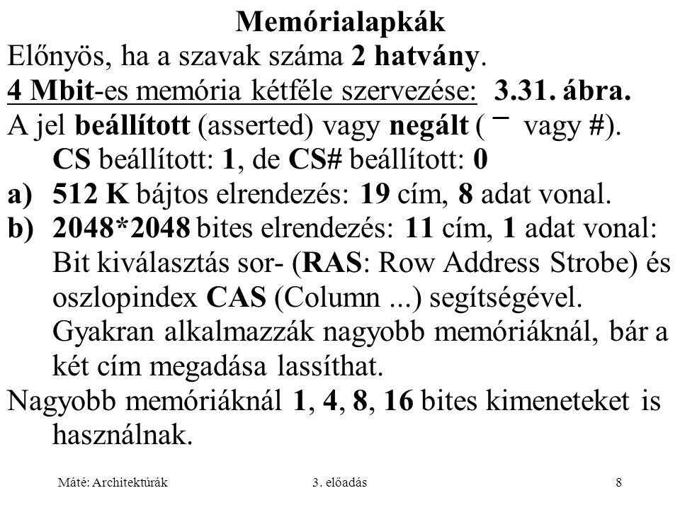Máté: Architektúrák3. előadás8 Memórialapkák Előnyös, ha a szavak száma 2 hatvány. 4 Mbit-es memória kétféle szervezése: 3.31. ábra. A jel beállított