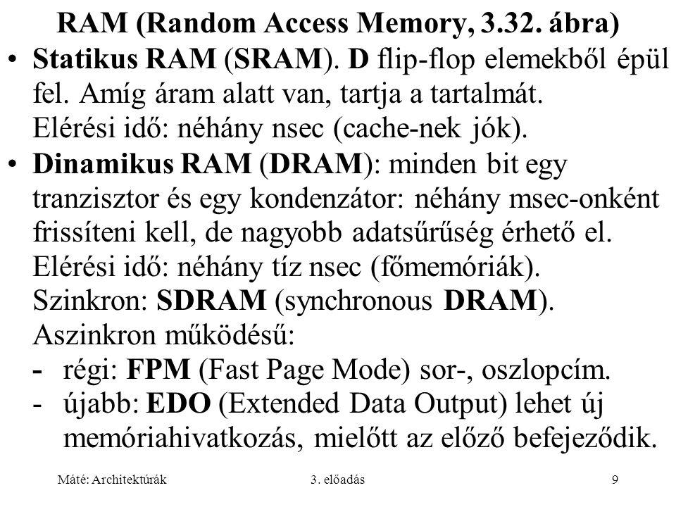 Máté: Architektúrák3. előadás9 RAM (Random Access Memory, 3.32. ábra) Statikus RAM (SRAM). D flip-flop elemekből épül fel. Amíg áram alatt van, tartja
