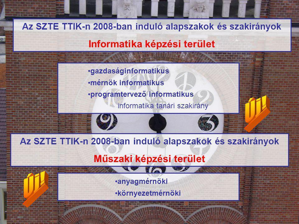 Az SZTE TTIK-n 2008-ban induló alapszakok és szakirányok Informatika képzési terület gazdaságinformatikus mérnök informatikus programtervező informatikus informatika tanári szakirány Az SZTE TTIK-n 2008-ban induló alapszakok és szakirányok Műszaki képzési terület anyagmérnöki környezetmérnöki