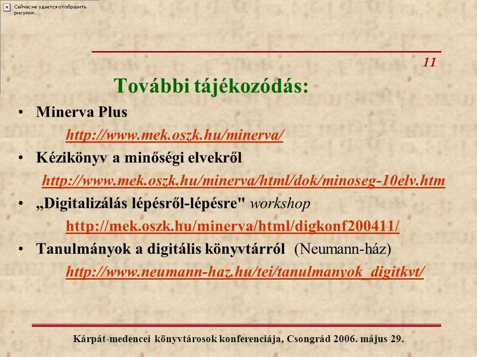 11 Kárpát-medencei könyvtárosok konferenciája, Csongrád 2006. május 29. További tájékozódás: Minerva Plus http://www.mek.oszk.hu/minerva/ Kézikönyv a