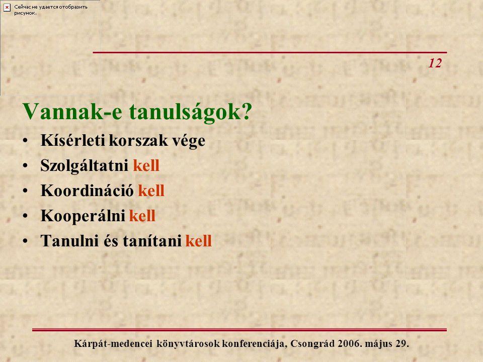 12 Kárpát-medencei könyvtárosok konferenciája, Csongrád 2006. május 29. Vannak-e tanulságok? Kísérleti korszak vége Szolgáltatni kell Koordináció kell