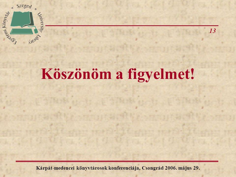13 Kárpát-medencei könyvtárosok konferenciája, Csongrád 2006. május 29. Köszönöm a figyelmet!