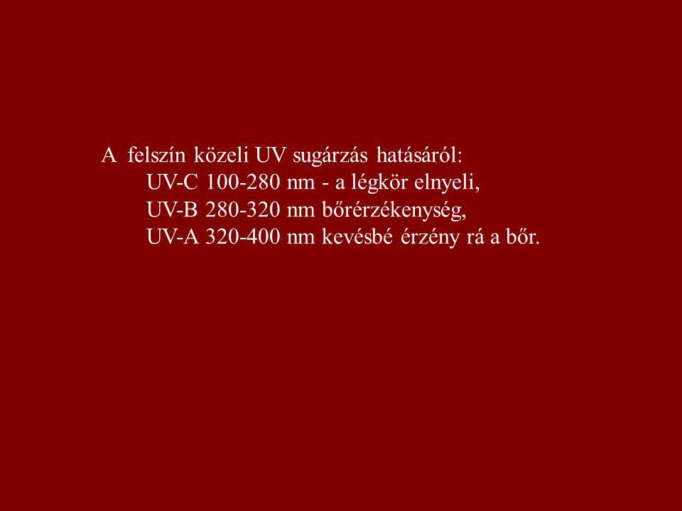 A felszín közeli UV sugárzás hatásáról: UV-C 100-280 nm - a légkör elnyeli, UV-B 280-320 nm bőrérzékenység, UV-A 320-400 nm kevésbé érzény rá a bőr.