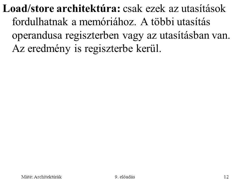 Máté: Architektúrák9. előadás12 Load/store architektúra: csak ezek az utasítások fordulhatnak a memóriához. A többi utasítás operandusa regiszterben v