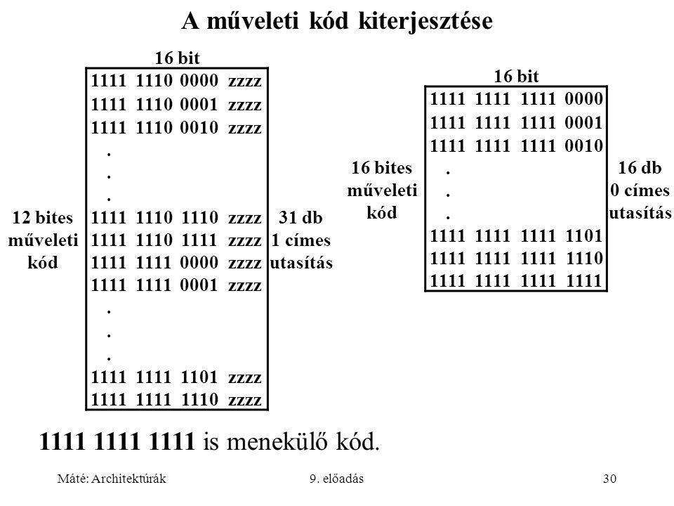 Máté: Architektúrák9. előadás30 A műveleti kód kiterjesztése 16 bit 12 bites műveleti kód 111111100000zzzz 31 db 1 címes utasítás 111111100001zzzz 111