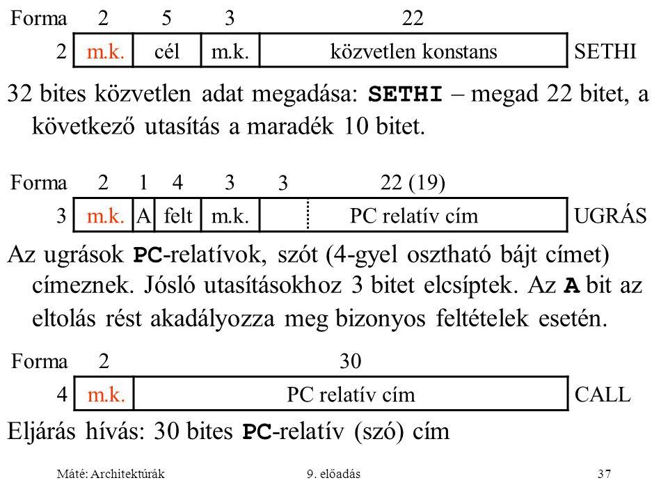 Máté: Architektúrák9. előadás37 32 bites közvetlen adat megadása: SETHI – megad 22 bitet, a következő utasítás a maradék 10 bitet. Forma25322 2 m.k.cé