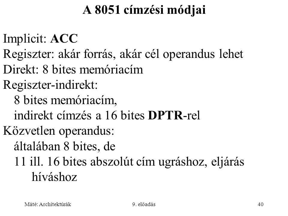 Máté: Architektúrák9. előadás40 A 8051 címzési módjai Implicit: ACC Regiszter: akár forrás, akár cél operandus lehet Direkt: 8 bites memóriacím Regisz