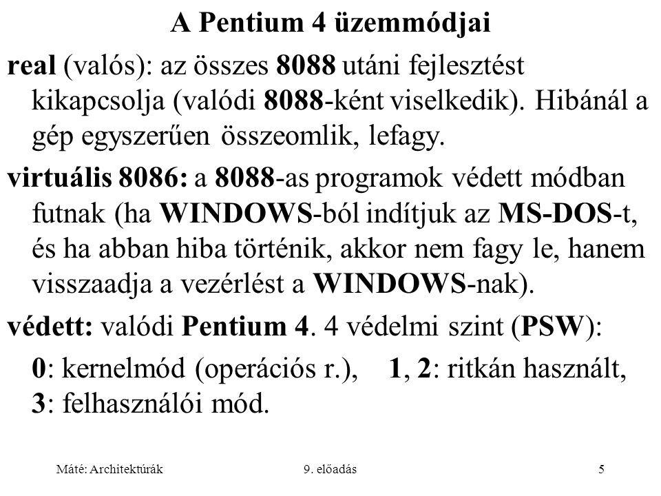 Máté: Architektúrák9. előadás5 A Pentium 4 üzemmódjai real (valós): az összes 8088 utáni fejlesztést kikapcsolja (valódi 8088-ként viselkedik). Hibáná