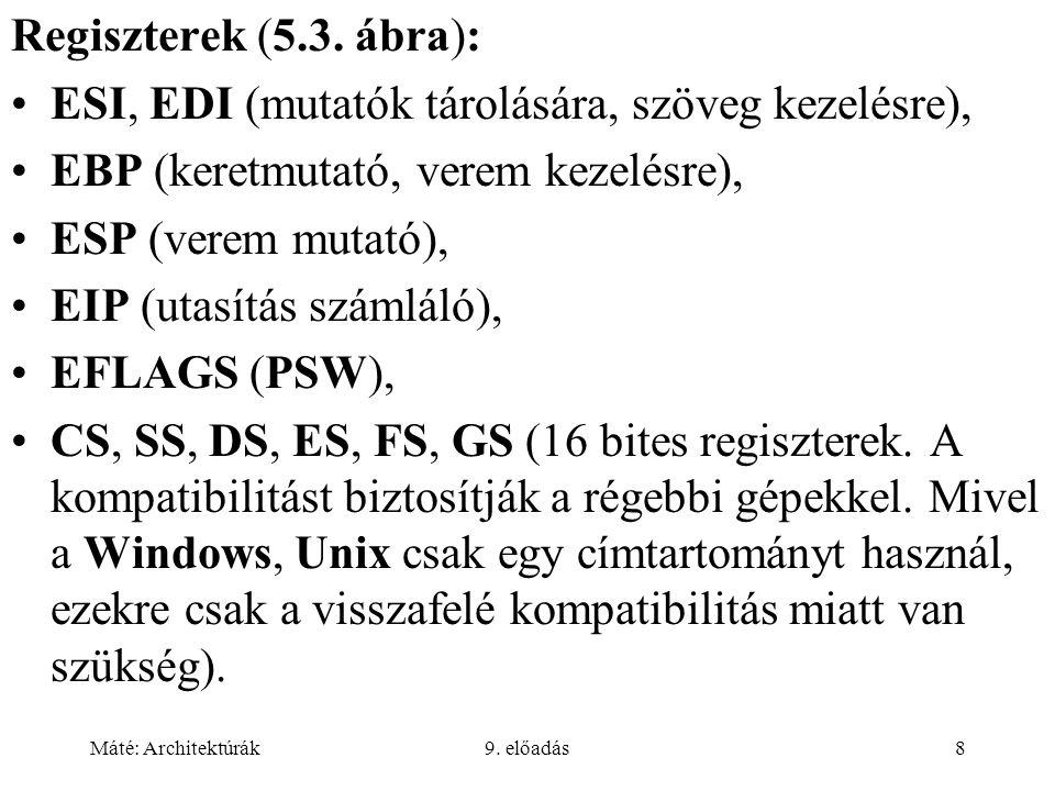 Máté: Architektúrák9. előadás8 Regiszterek (5.3.